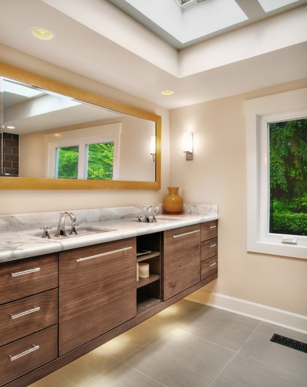 View In Gallery Gorgeous Bathroom Vanity Enhanced With Smart Use Of Serene Lighting