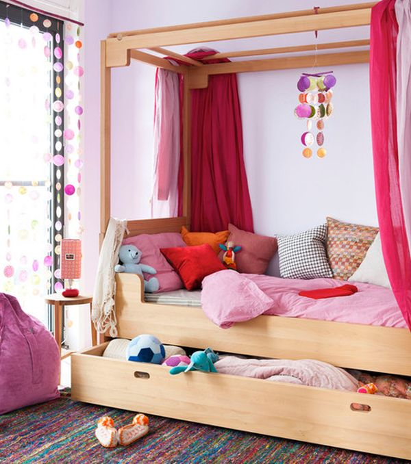 View In Gallery Gorgeous Kids Bedroom With Vivacious Colors And A Cool Trundle Bed