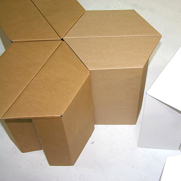 Hexagonal cardboard stools Creative Cardboard Furniture Ideas