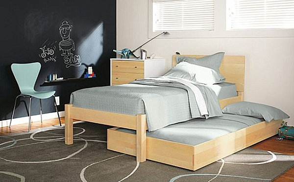 Hideaway twin bed for a kids' room