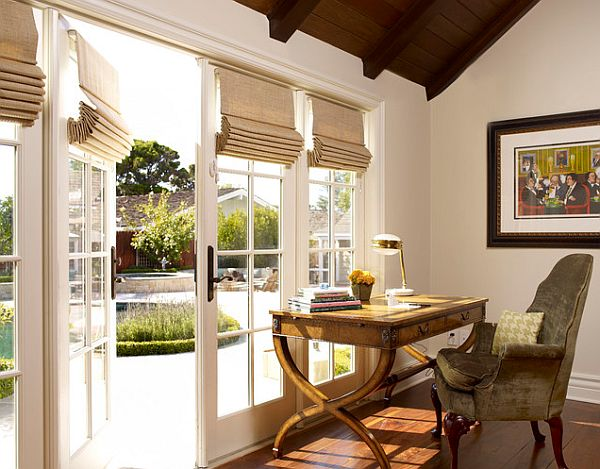 Home office with roman shades Adding Style to your Home with Modern Window Blinds