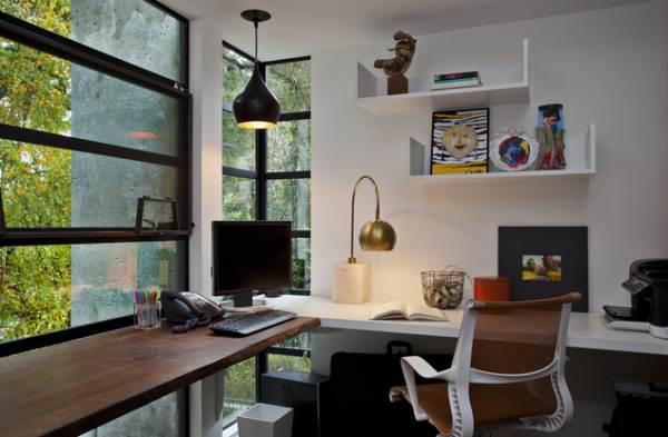 Make the most of your corner windows Study table facing window