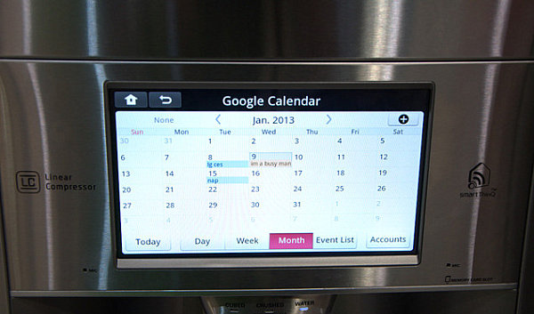 LG smart fridge displays the Google calendar
