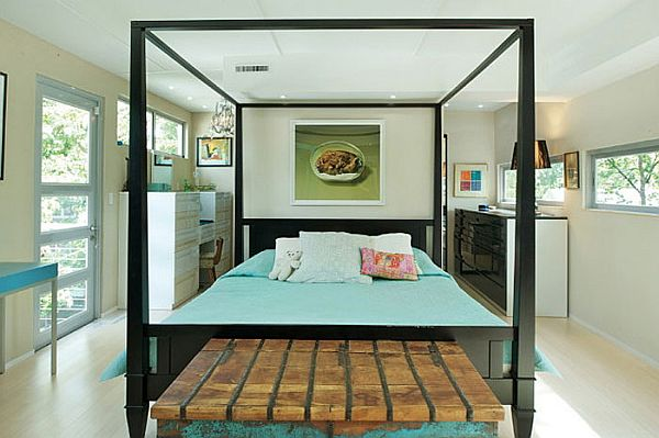 Lavish bedrooms in relaxing tones are a part of the container home