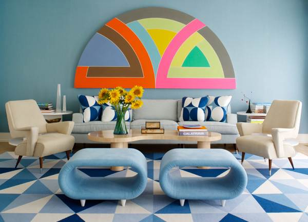 Living room with geometric flair