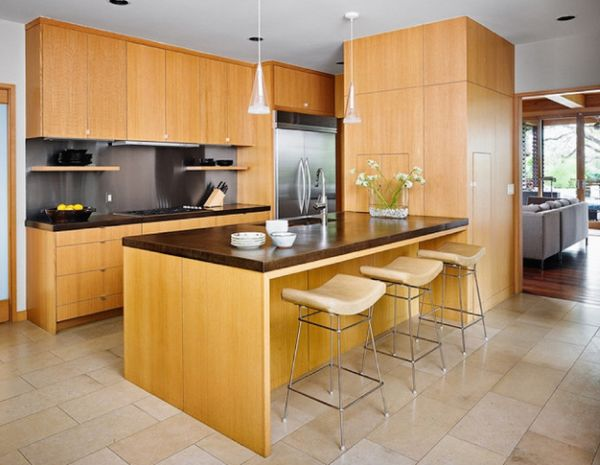 Lovely little asian kitchen design with rift sawn white for Asian kitchen cabinets design