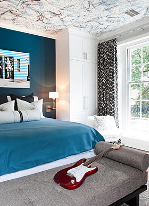 Masculine midnight blue bedroom