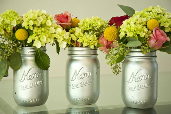 Upcycled mason jars make a great vase for flowers