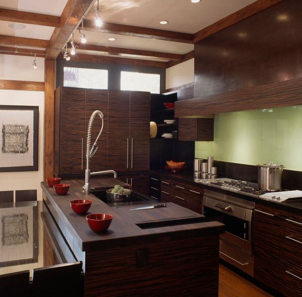Nice Asian Kitchen Design Ideas Part - 1: ... Modern Asian Kitchen Design Engulfed In Ample Dark Wood