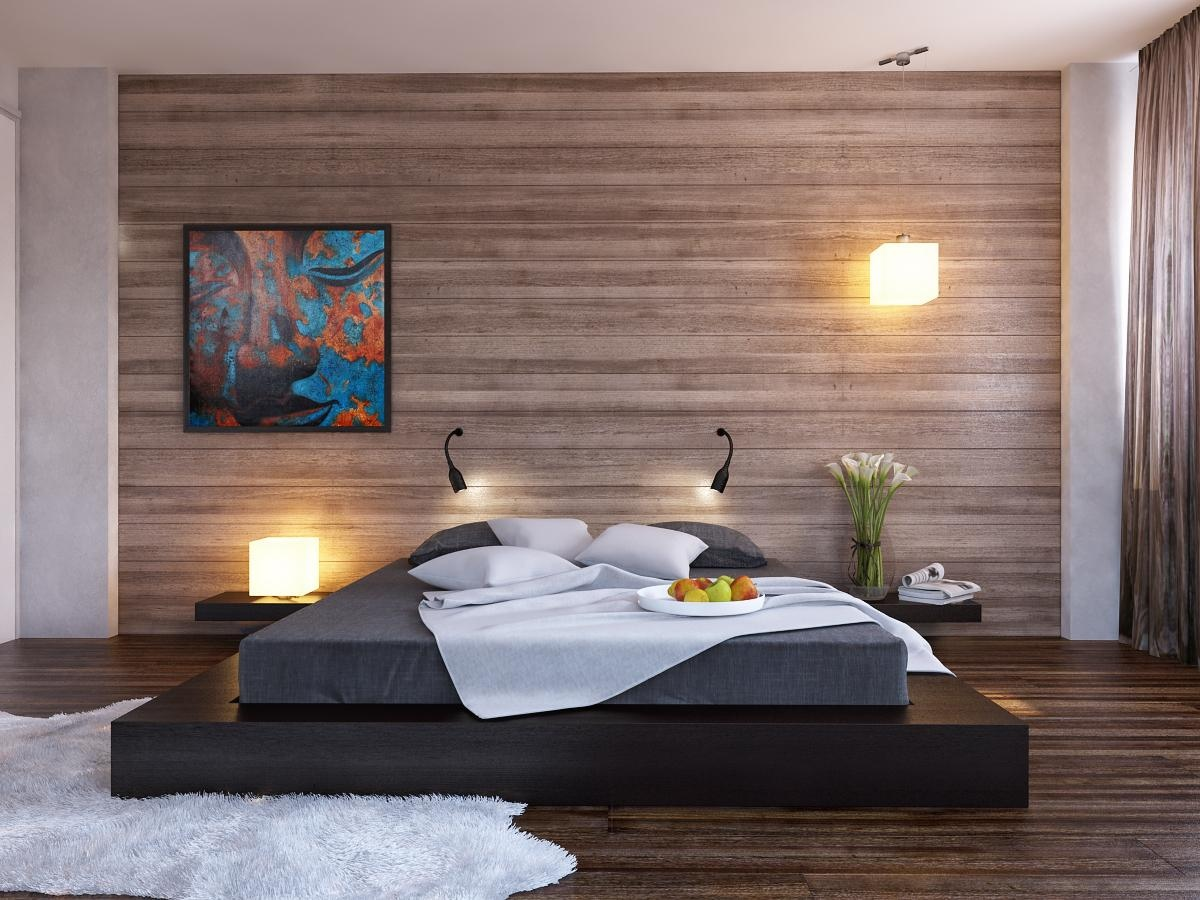 ... platform bed wood clad bedroom wall Easy to Build DIY Platform Bed