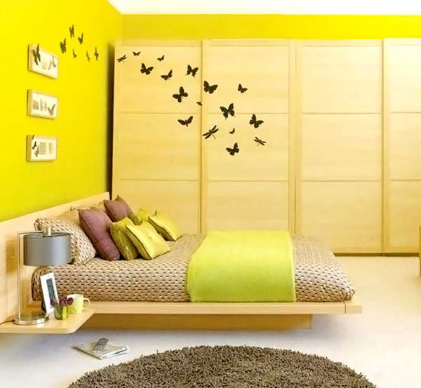 Modern acid yellow bedroom