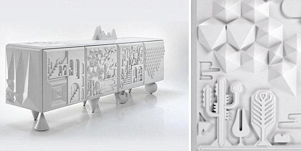Modern artistic white cabinet