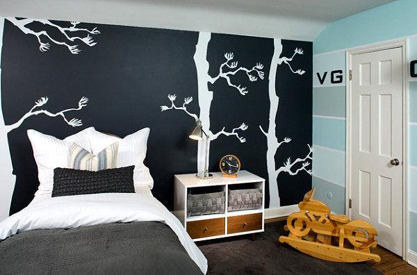 Modern boy's room with tree decals