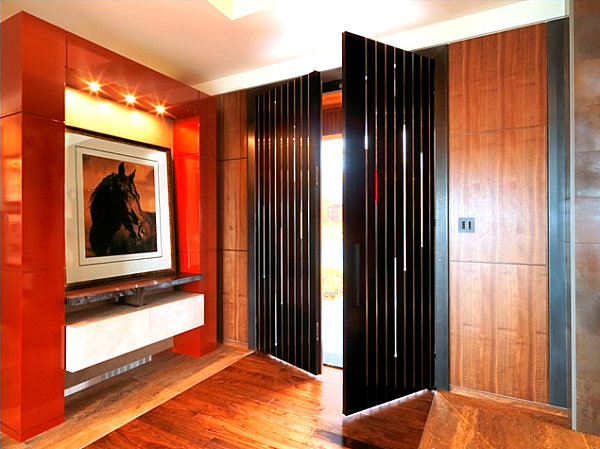 Modern doors with vertical windows