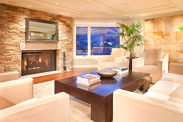 Modern fireplace with overhead mirror