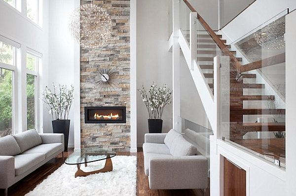 Modern fireplace with sunburst clock overhead