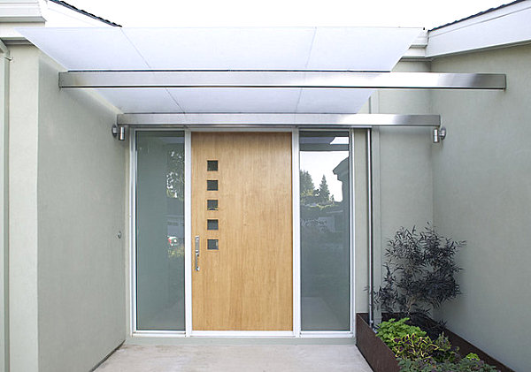 Modern front door with small square windows