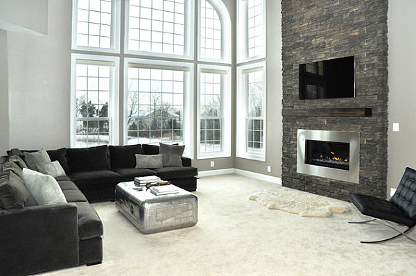 Modern gas fireplace with stacked stone