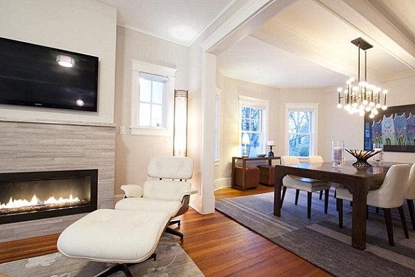 Modern travertine fireplace