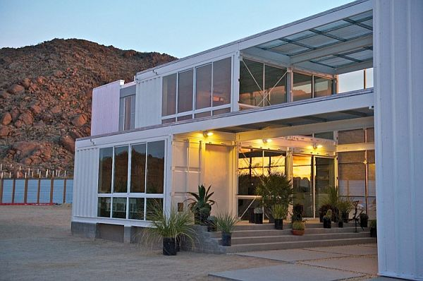 Mojave Desert Shipping Container House- A view of the entrance