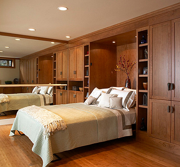 Murphy bed in a wooden room