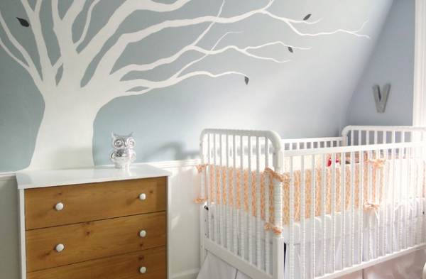 Nursery with a large tree decal