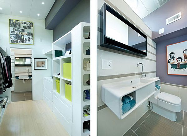 Organized shelf space and floating cabinets help maximize the interiors