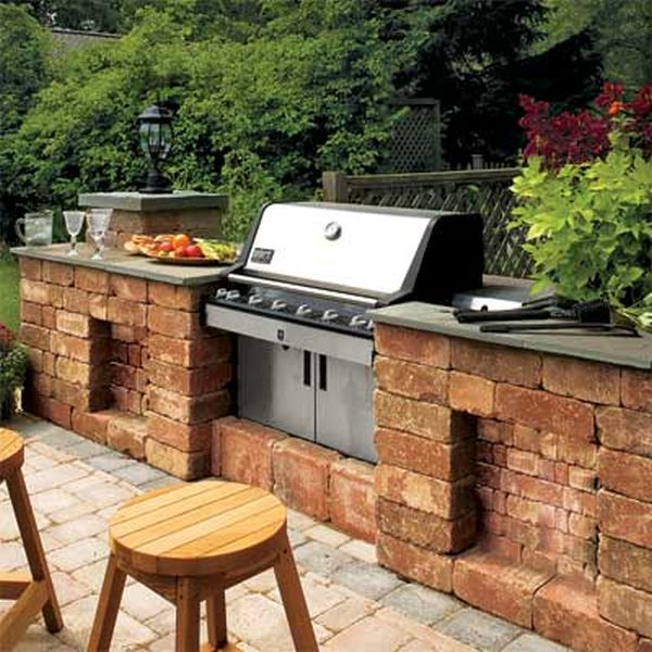A spacious outdoor kitchen setup