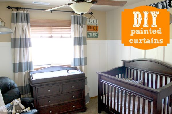 DIY Painted canvas curtains