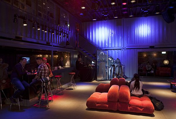 Plush seating and a home bar atmosphere recreated inside