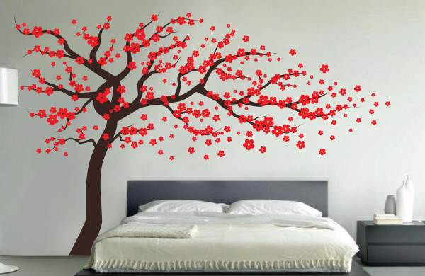Red blossom tree wall decal