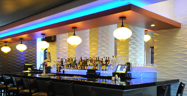 Restaurant bar with decorative walls