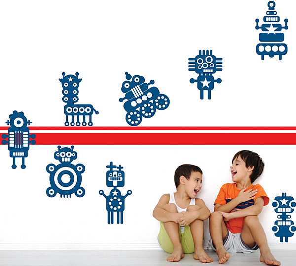 Robot wall decals for kids