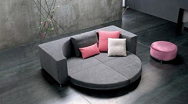 Round convertible sleeper sofa
