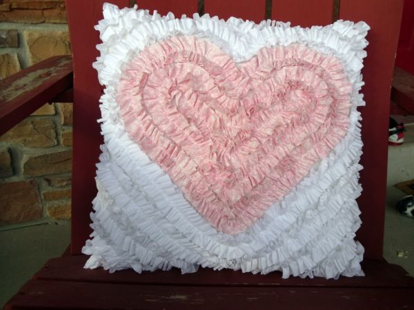 Ruffle Heart Pillow- Dreaming of eternal love