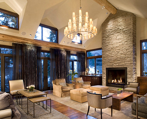 Stone fireplaces add warmth and style to the modern home Modern rustic living room
