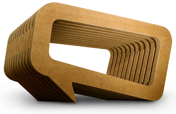 Sculptural cardboard table