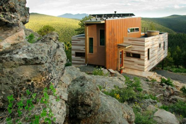 Shipping Container Home in Colorado set in a rocky terrain