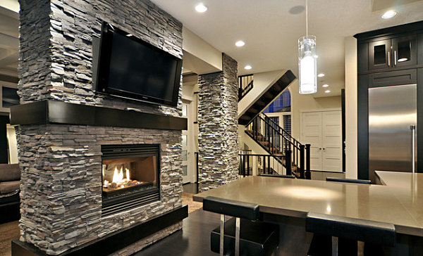 View In Gallery Slate Gray Stacked Stone Fireplace