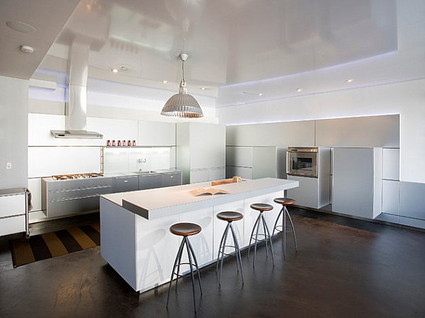 Bar Stools In White Kitchen