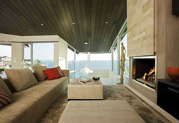 Sleek fireplace in a family room