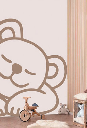 Sleepy bear wall decal
