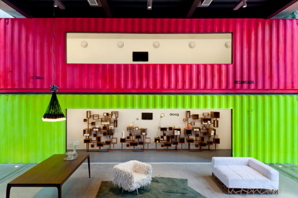 Spacious interiors illuminated by a colorful backdrop