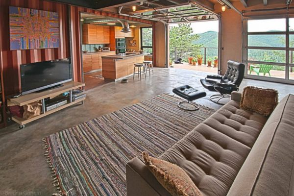 Spacious living area with plush couch