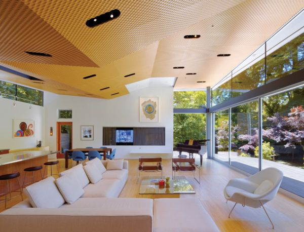 Sparkling living space lit by skylights with Wassily chairs for cool contrast