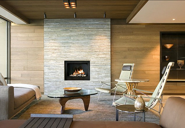 Stone fireplace as a modern focal point