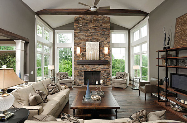 Living Room with Stone Fireplace 600 x 395