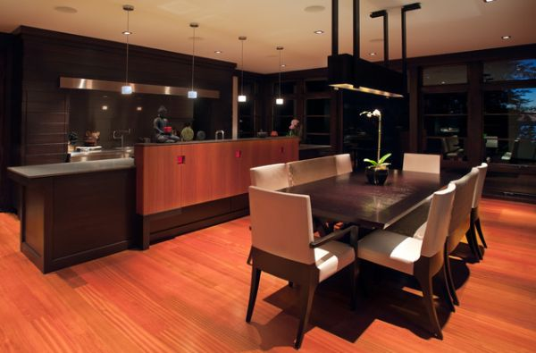 Stunning Asian kitchen and dining space design with Zen-like atmosphere and Buddha at its heart