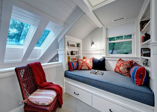 Stunning skylights and space conscious trundle bed light up this compact bedroom