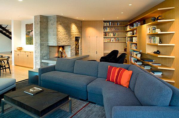 Stylish corner fireplace